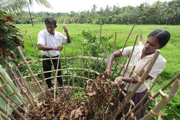 Ambalangoda  Sri Lanka  Malteser-Mitarbeiter zeigt Frauen die Herstellung von Kompostanlagen