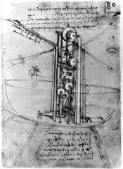 Design for a flying machine  by Leonardo da Vinci  late 15th century.