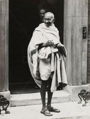 Mahatma Gandhi on the steps of 10 Downing Street  1931.