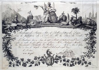 Diploma from the Academy of Sciences  Arts and Letters  1822.