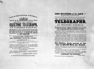 Handbills advertising public viewing of the GWR telegraphs  c 1846.