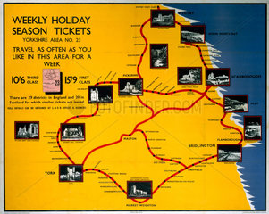 'Weekly Holiday Season Tickets - Yorkshire'  LNER poster  1923-1947.