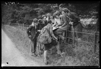 Hikers enjoying the sunshine at Box Hill  9 April 1935.