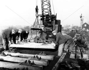 Construction of a railway  1949. British Ra