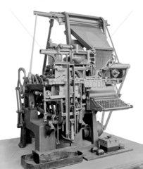 Early model linotype typesetter  c 1915.