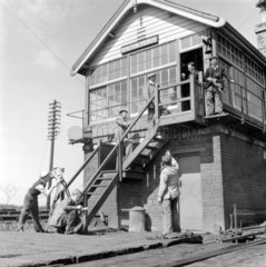 Filming at Bolton Percy signal box  Yorkshi