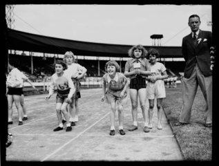 Schools' athletics meeting  White City  London  13 June 1938.