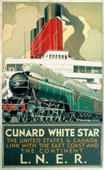 'Cunard White Star'  LNER poster  1923-1947.