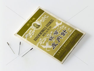 Three small acupuncture needles  Chinese  1970-1980.