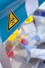 Muenster  Deutschland  Symbol fuer Biogefaehrdung an einem Arbeitsplatz