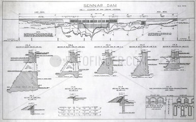 Plans of the Sennar Dam  Sudan  1925.