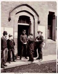 Men outside a polling station  Whitby  North Yorkshire  1905.