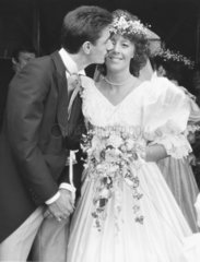 British footballer Ian Rush marries Tracy Evans  Wales  July 1987.
