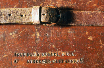 Leather attache case belonging to Isambard Kingdom Brunel  19th century.