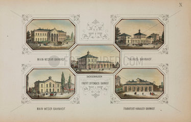 Railway stations in Frankfurt and Offenbach  Germany  19th century.