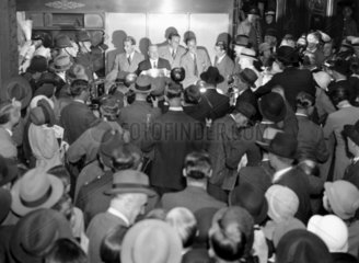 The victorious Davis Cup tennis team at Victoria Station  31 July 1933.
