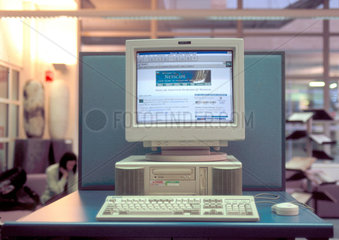 Internet screen on a computer  Westminster University  London  1997.