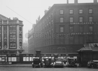Cars in the forecourt of Manchester Central Station  10 February 1930.