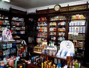 Interior view of H A Noble's chemist shop  South Croydon  London  c 1970s.