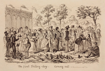 'The First shilling-day - coming out'  1851.