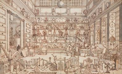 'The Physical Laboratory of the Academie des Sciences'  Paris  c 1700.