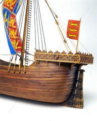 Detail showing rudder of an English ship  c 1426.