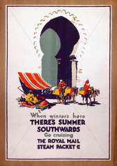 'When Winter's Here  There's Summer Southwards...'  poster  c 1920-1940.