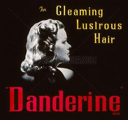 'Danderine - for Gleaming Lustrous Hair'  advertisement  1940-1950.