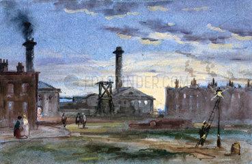 Gasworks at sunset  c 1850.