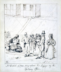 'Mr Kendrick  of Crewe  being refused his luggage by the Railway Officer'  1835.