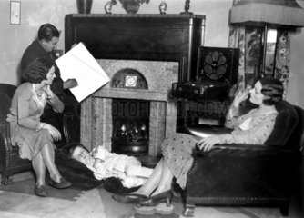 A family listening to the general election