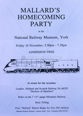 'Mallard's homecoming party'  NRM poster  16 November 1990.