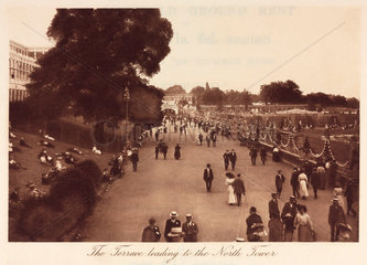 People strolling outside the Crystal Palace  Sydenham  1911.