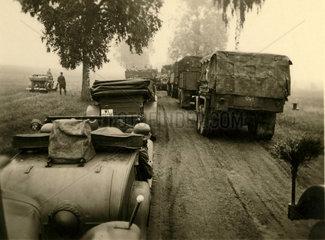 Line of German Army trucks  Second World War  1 September 1939.