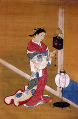 Japanese woman winding up a wall clock  1700-1750.