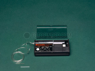 Portable insulin infusion pump  1980s.