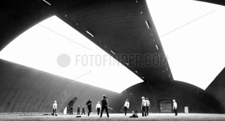 Inflatable stadium  Salford University  March 1970.