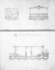 Railway carriages  British  1830. Pencil dr