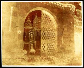 Calotype negative showing 'Entrance Gate  Abbotsford'  Scotland  1845.