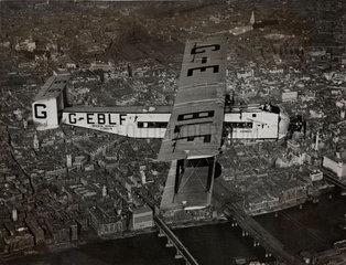 Argosy prototype G-EBLF 'City of Glasgow' over central London  1927.