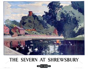 'The Severn at Shrewsbury'  BR poster  c 1950s.