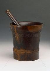 Turned wood pestle and mortar  European  c 1800.