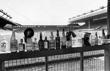 Bottles after a Scotland football match  October 1986.