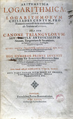 Title page of a book of logarithmic tables by Napier  1628.
