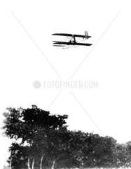 Orville Wright flying the first Signal Corps Army aeroplane  USA  1908.