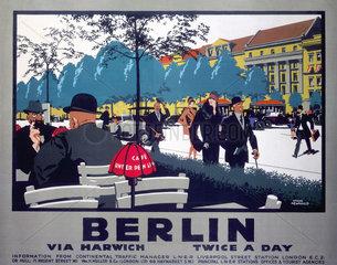 'Berlin via Harwich twice a day'  LNER poster  1925.