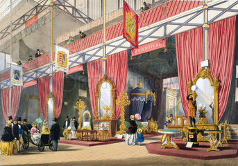 Furniture at the Great Exhibition  Crystal Palace  London  1851.
