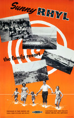 'Sunny Rhyl - The Family Resort'  BR (LMR) poster  1955.