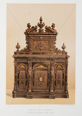 Carved wood cabinet  USA  1876.
