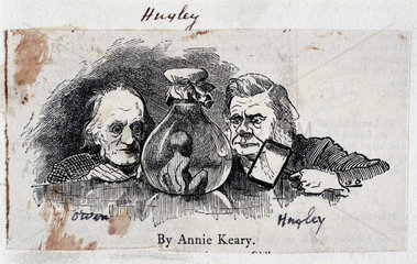 Thomas Henry Huxley  biologist  and Sir Richard Owen  zoologist  c 1863.